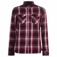 Firetrap Карирана Риза Дълъг Ръкав Long Sleeve Check Shirt Mens Burg Check Мъжко облекло за едри хора