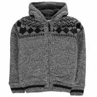 Lee Cooper Яке Момчета Fairisle Lined Knitted Jacket Junior Boys Black Marl Детски плетени пуловери и жилетки