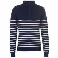 Pierre Cardin Button Neck Knit Mens Navy/White Мъжки пуловери и жилетки