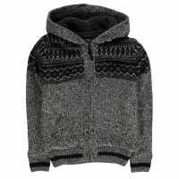 Lee Cooper Плетена Жилетка Fairisle Lined Knitted Cardigan Junior Boys Black Marl Детски плетени пуловери и жилетки