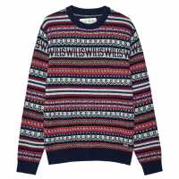 Блуза С Обло Деколте Jack Wills Wills Fairisle Crew Neck Jumper  Коледни пуловери