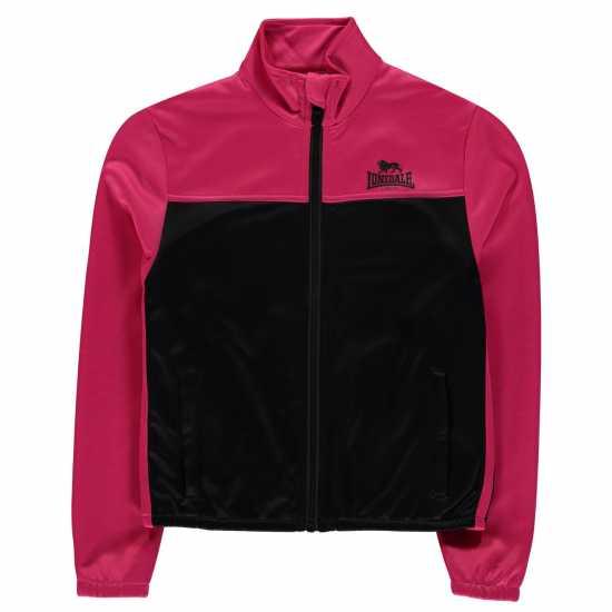 Lonsdale Яке Момичета 2 Stripe Track Jacket Junior Girls Black/Magenta
