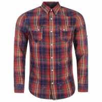 883 Police Блуза С Дълъг Ръкав Bronco Long Sleeved Shirt Red Check Мъжки ризи