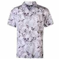 Firetrap Blackseal Printed Casual Shirt Ecru Мъжко облекло за едри хора