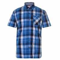 Lee Cooper Карирана Мъжка Риза Short Sleeve Check Shirt Mens Royal/Navy/Whte Мъжки ризи