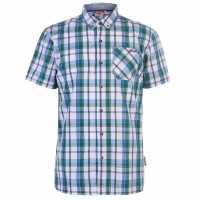 Lee Cooper Карирана Мъжка Риза Short Sleeve Check Shirt Mens Whte/Green/Blue Мъжки ризи