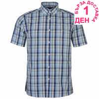 Pierre Cardin Карирана Мъжка Риза Cotton Short Sleeve Check Shirt Mens Turq/Orange/Pur Мъжки ризи