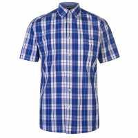 Pierre Cardin Карирана Мъжка Риза Short Sleeve Checked Shirt Mens Blue/White Мъжки ризи