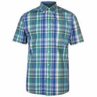 Pierre Cardin Карирана Мъжка Риза Short Sleeve Checked Shirt Mens Green/Blue/Yel Мъжки ризи