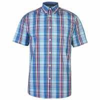 Pierre Cardin Карирана Мъжка Риза Short Sleeve Checked Shirt Mens Blue/Red/Aqua Мъжки ризи