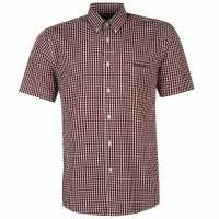 Pierre Cardin Мъжка Риза Къс Ръкав Short Sleeve Shirt Mens Red/Navy Chk Мъжки ризи