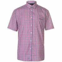 Pierre Cardin Мъжка Риза Къс Ръкав Short Sleeve Shirt Mens Red/Navy Check Мъжки ризи