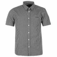 Pierre Cardin Мъжка Риза Къс Ръкав Short Sleeve Shirt Mens Black/Wht Ging Мъжки ризи