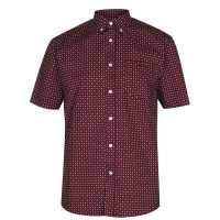 Pierre Cardin Мъжка Риза Къс Ръкав Short Sleeve Shirt Mens Burg/Wht Geo Мъжко облекло за едри хора