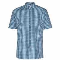 Pierre Cardin Мъжка Риза Къс Ръкав Short Sleeve Shirt Mens Royal/Aqua Мъжко облекло за едри хора