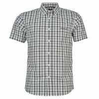 Pierre Cardin Мъжка Риза Къс Ръкав Short Sleeve Shirt Mens White/Blk Check Мъжко облекло за едри хора
