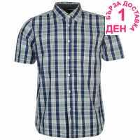 Pierre Cardin Карирана Мъжка Риза Short Sleeve Check Shirt Mens Blue/White Мъжки ризи