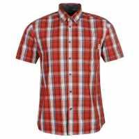 Pierre Cardin Карирана Мъжка Риза Short Sleeve Check Shirt Mens Red/Wht/Blue Мъжки ризи