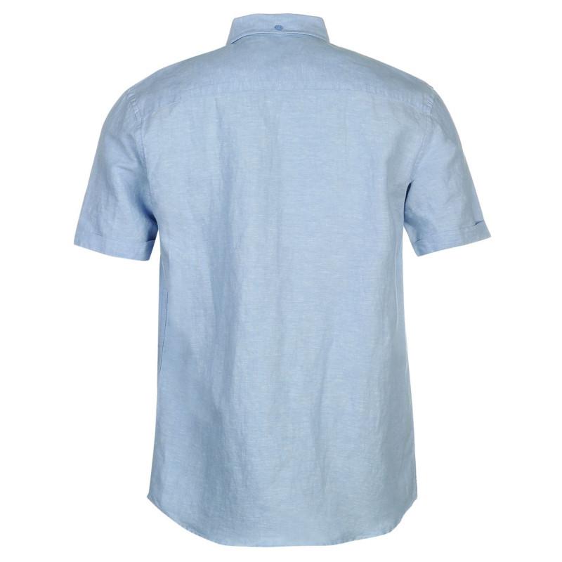 Pierre cardin short sleeve linen shirt mens for Mens light blue linen shirt