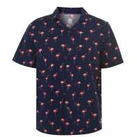Hot Tuna Мъжка Риза Short Sleeves All Over Printed Shirt Mens Flamingo Мъжко облекло за едри хора