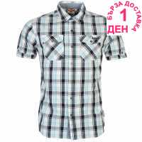 Lee Cooper Карирана Мъжка Риза Short Sleeve Check Shirt Mens White/Navy/Blue Мъжки ризи