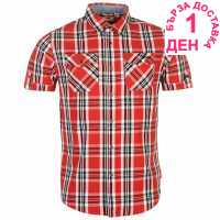 Lee Cooper Карирана Мъжка Риза Short Sleeve Check Shirt Mens Red/White/Black Мъжки ризи