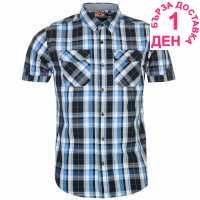 Lee Cooper Карирана Мъжка Риза Short Sleeve Check Shirt Mens Black/Wht/Blue Мъжки ризи