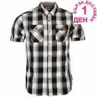 Lee Cooper Карирана Мъжка Риза Short Sleeve Check Shirt Mens Black/White/Red Мъжки ризи