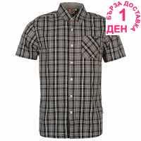 Lee Cooper Карирана Мъжка Риза Short Sleeve Check Shirt Mens Grey/Blk/White Мъжки ризи