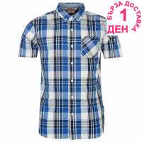 Lee Cooper Карирана Мъжка Риза Short Sleeve Check Shirt Mens Royal/Nvy/White Мъжки ризи