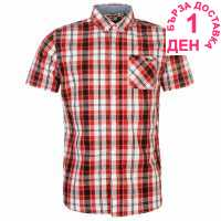 Lee Cooper Карирана Мъжка Риза Short Sleeve Check Shirt Mens Red/Blk/White Мъжки ризи