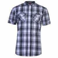 Lee Cooper Карирана Мъжка Риза Ss Check Shirt Mens White/Black Мъжко облекло за едри хора