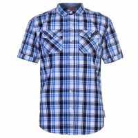 Lee Cooper Карирана Мъжка Риза Ss Check Shirt Mens White/Navy/Blue Мъжко облекло за едри хора