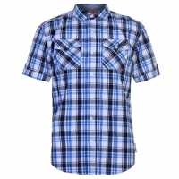 Lee Cooper Карирана Мъжка Риза Ss Check Shirt Mens White/Navy/Blue Мъжки ризи