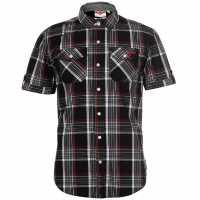 Lee Cooper Карирана Мъжка Риза Ss Check Shirt Mens Black/White/Red Мъжко облекло за едри хора