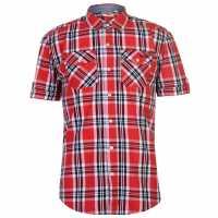 Lee Cooper Карирана Мъжка Риза Ss Check Shirt Mens Red/White/Black Мъжко облекло за едри хора
