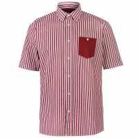 Pierre Cardin Мъжка Риза Къс Ръкав Pocket Detail Striped Short Sleeve Shirt Mens Burg/White Мъжко облекло за едри хора