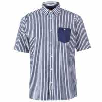 Pierre Cardin Мъжка Риза Къс Ръкав Pocket Detail Striped Short Sleeve Shirt Mens Dk Blue/Wht Мъжки ризи