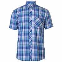 Pierre Cardin Мъжка Риза Къс Ръкав Madras Short Sleeve Shirt Mens Lt Blue/Turq/Wh Мъжки ризи