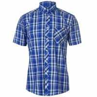Pierre Cardin Мъжка Риза Къс Ръкав Madras Short Sleeve Shirt Mens Royal/Navy/Blue Мъжки ризи