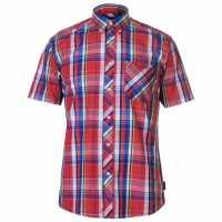Pierre Cardin Мъжка Риза Къс Ръкав Madras Short Sleeve Shirt Mens Red/Blue/Yellow Мъжки ризи