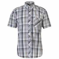 Pierre Cardin Мъжка Риза Къс Ръкав Madras Short Sleeve Shirt Mens Black/Wht/Yell Мъжки ризи
