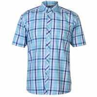 Pierre Cardin Мъжка Риза Къс Ръкав Small Check Short Sleeve Shirt Mens Blue/Light Blue Мъжки ризи