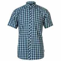 Pierre Cardin Мъжка Риза Къс Ръкав Small Check Short Sleeve Shirt Mens Green/Navy Мъжки ризи