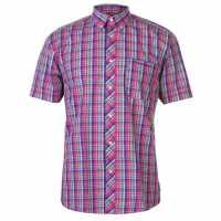 Pierre Cardin Мъжка Риза Къс Ръкав Small Check Short Sleeve Shirt Mens Pink/Blue Мъжки ризи