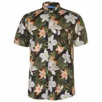 Pierre Cardin Мъжка Риза Къс Ръкав Tropical Short Sleeve Shirt Mens Blk/Grn/Off Wht Мъжко облекло за едри хора