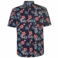 Pierre Cardin Мъжка Риза Къс Ръкав Tropical Short Sleeve Shirt Mens Multi Brights Мъжки ризи