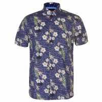 Pierre Cardin Мъжка Риза Къс Ръкав Tropical Short Sleeve Shirt Mens Navy/Blue/Green Мъжко облекло за едри хора