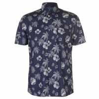 Pierre Cardin Мъжка Риза Къс Ръкав Blue Short Sleeve Shirt Mens Navy/White Palm Мъжко облекло за едри хора
