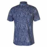 Pierre Cardin Мъжка Риза Къс Ръкав Blue Short Sleeve Shirt Mens Indigo/WhteLeaf Мъжки ризи
